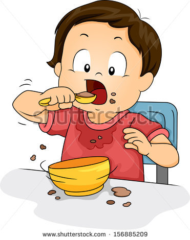 Illustration Young Boy Making Mess While Stock Vector 156885209.