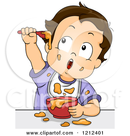 Cartoon of a Baby Boy Making a Mess with His Food.