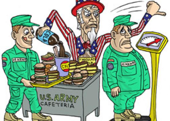 Military mess halls: Fried, fatty, processed foods and sugary.
