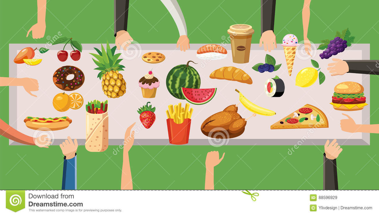 Food Horizontal Banner Table, Cartoon Style Stock Vector.