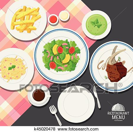 Different types of food on dining table Clip Art.