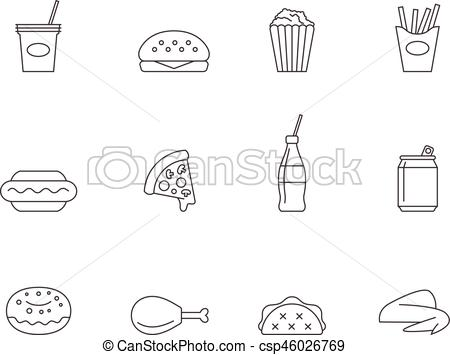 Outline icons fast food.