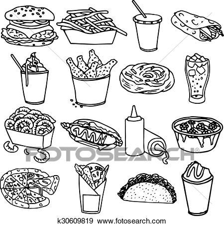 Fast food menu icons black outline Clip Art.
