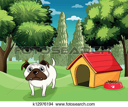 Clipart of A white bulldog with a dog food outside his dog house.