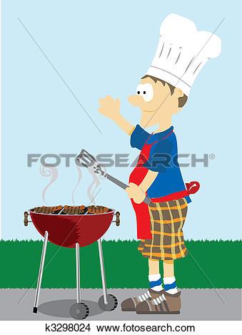 Drawings of Man grills food outside. k3298024.