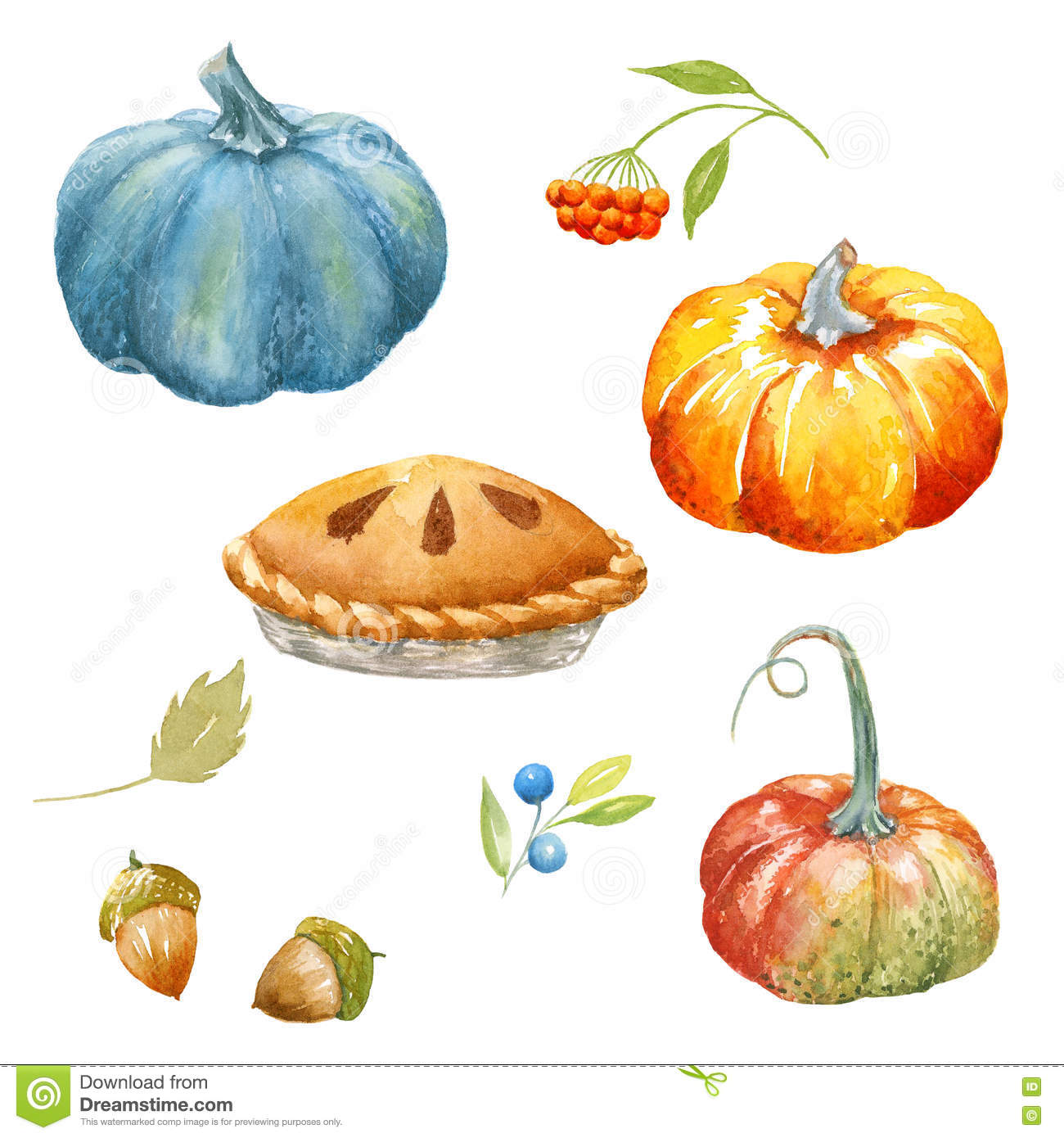 Thanksgiving Watercolor Clipart Stock Illustration.