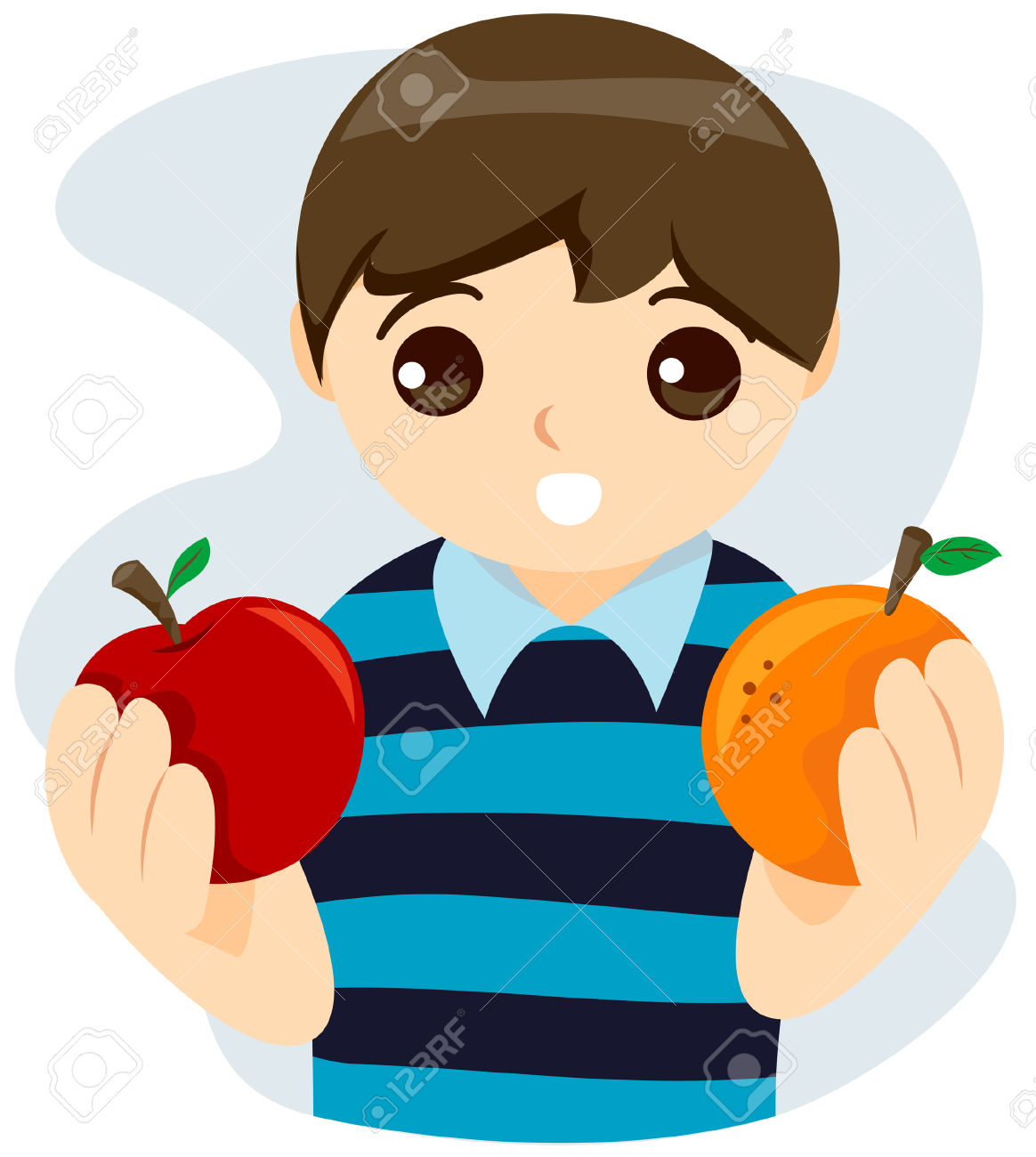 Kid Choosing Between Apple And Orange With Clipping Path Royalty.