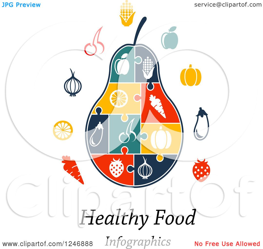 Clipart of a Puzzle Piece Pear Infographics Diagram with Icons and.