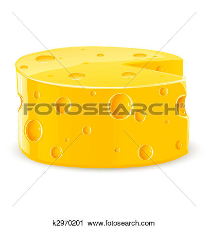 Clipart of piece of cheese isolated food on white k2970201.