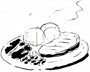 Plate Of Food Clipart Black And White.