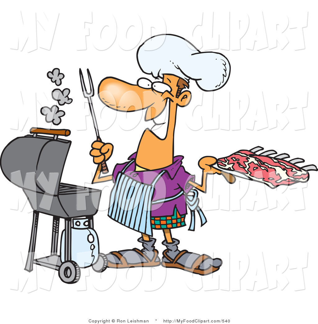 Food Clip Art of a Smiling Chef Man Preparing to Barbeque Ribs on.
