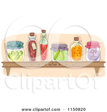 Clipart of a Jar of Canned Pickles.