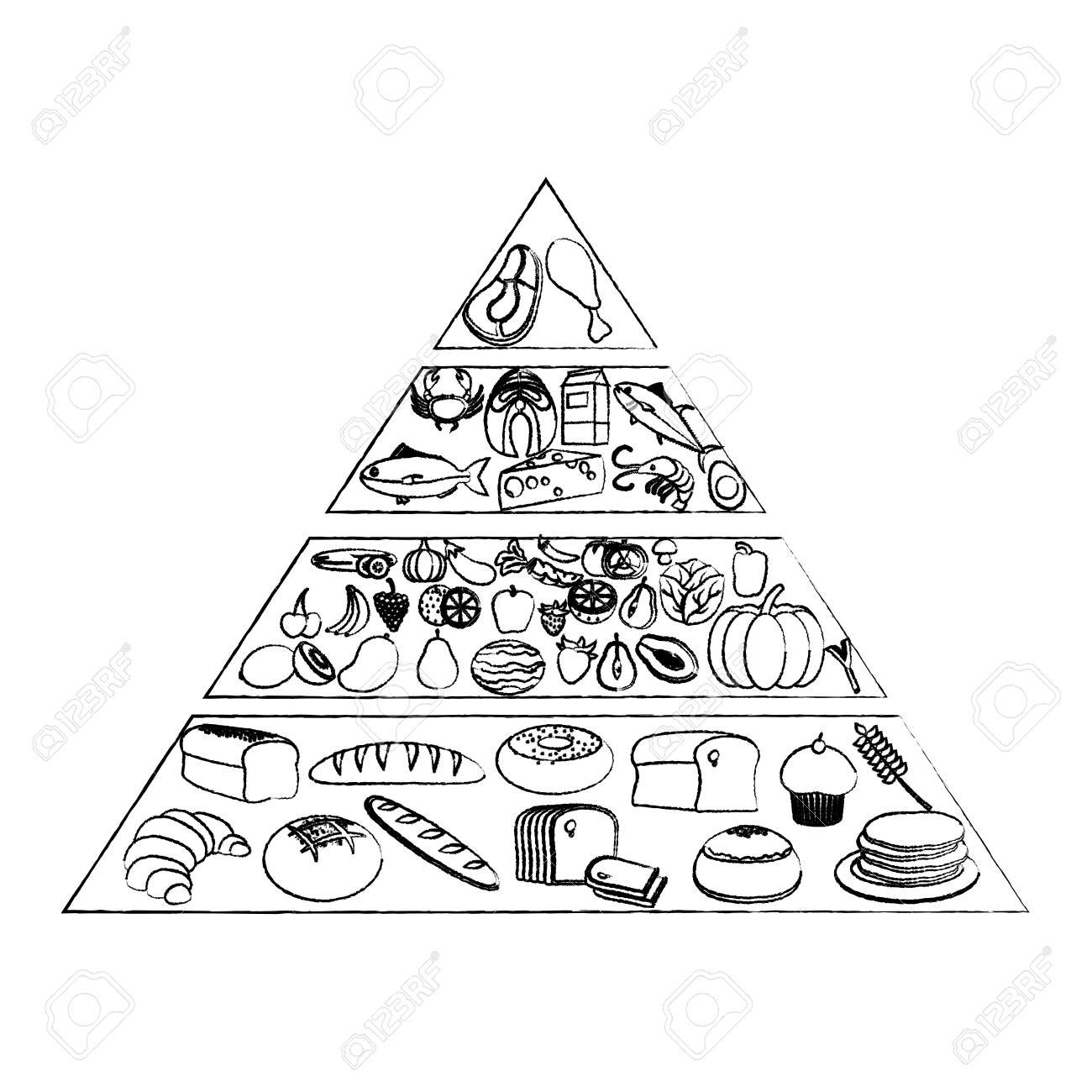 grunge nutritional food pyramid diet products vector illustration.