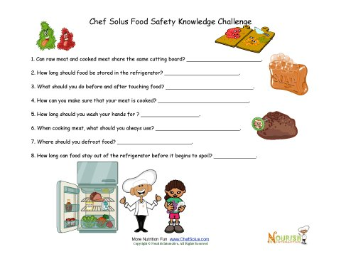 Food Safety Questions for children and middle school children.