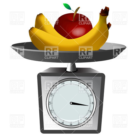 Fruits and domestic scales Stock Vector Image.
