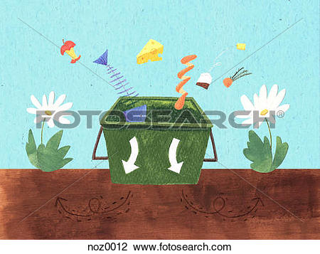 Clip Art of Putting food scraps into a composting bin noz0012.