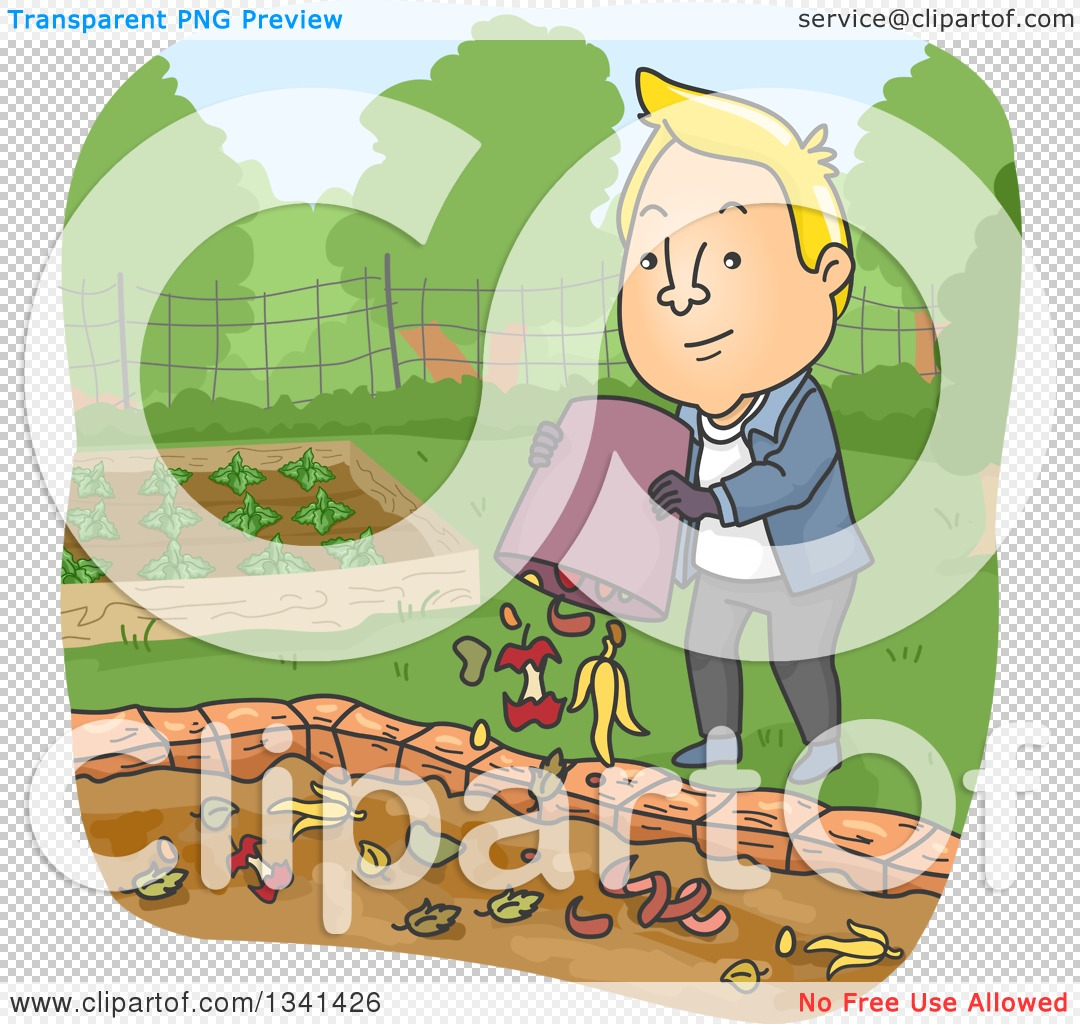 Clipart of a Cartoon Blond White Man Dumping Food Scraps in a.