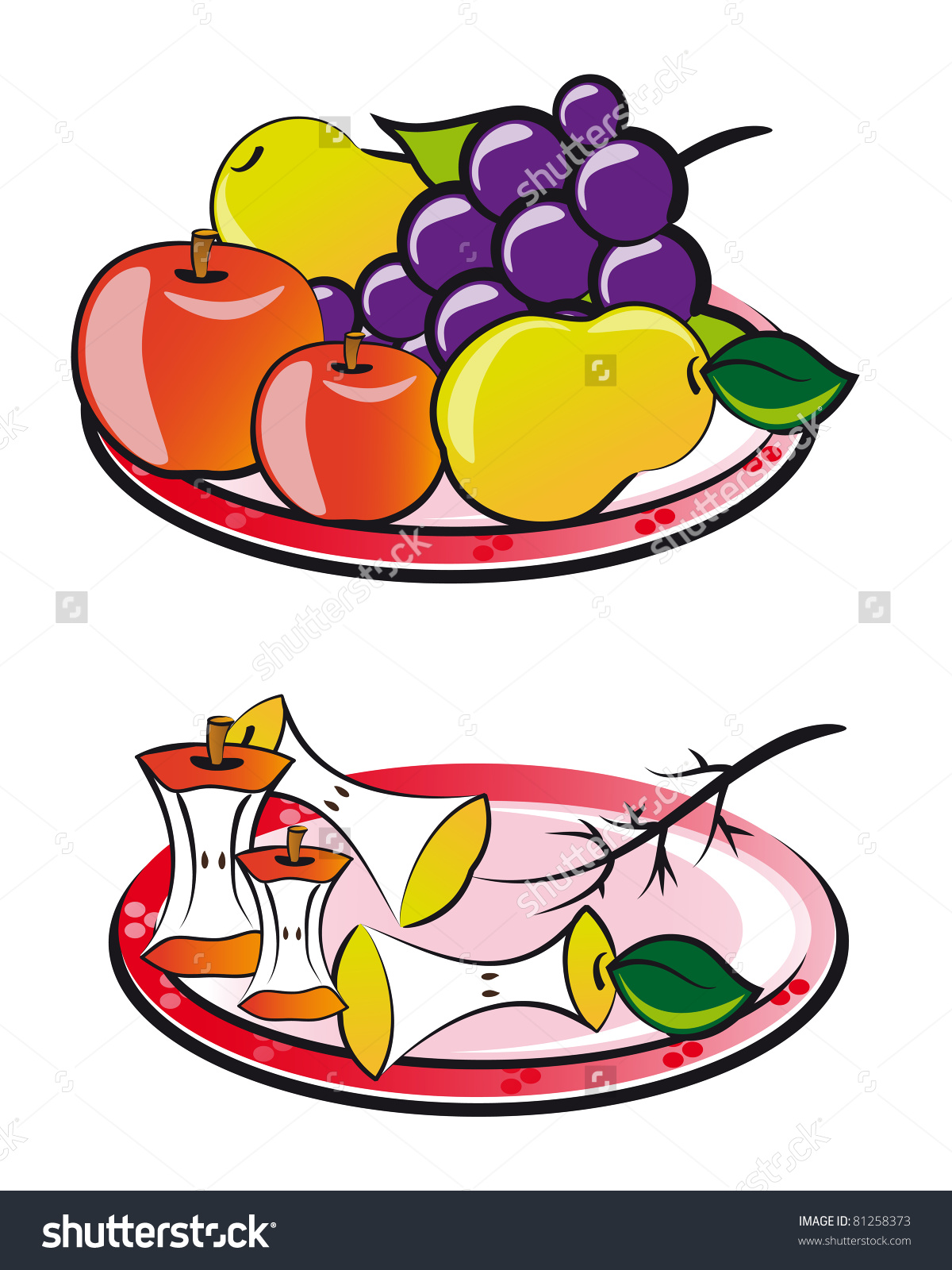 Fruits On Plate Fruits Scraps Fruits Stock Illustration 81258373.
