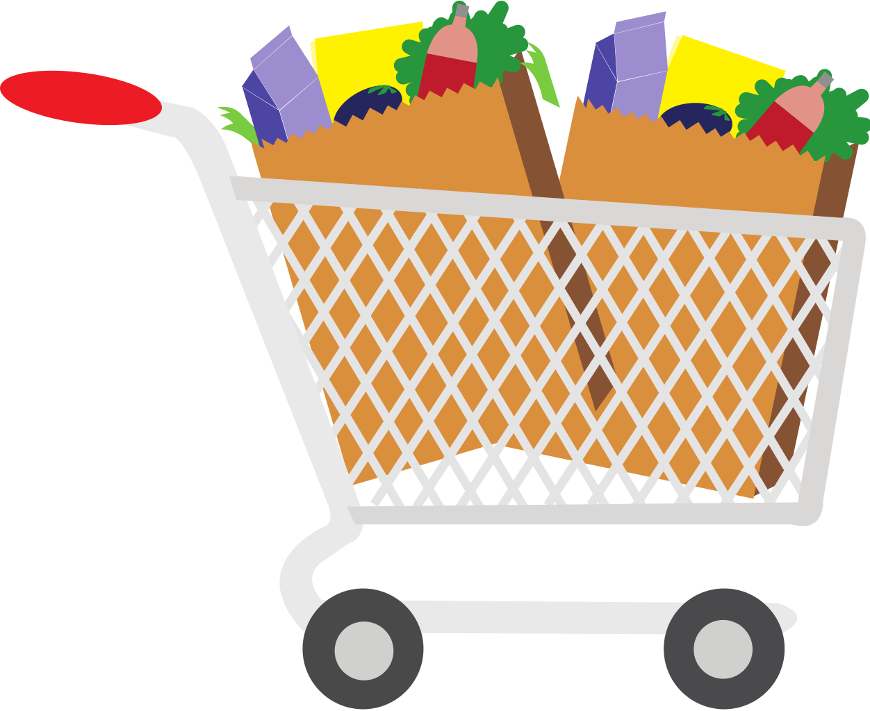 Shopping Cart With Food Clipart.