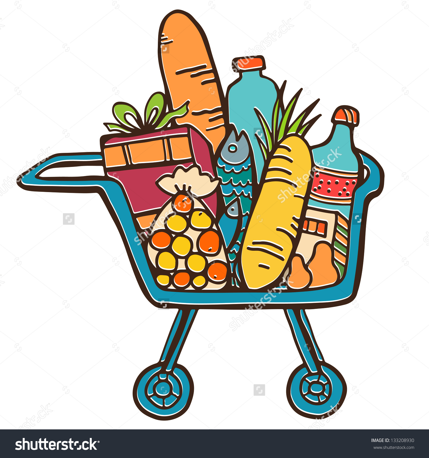 Shopping for food clipart.