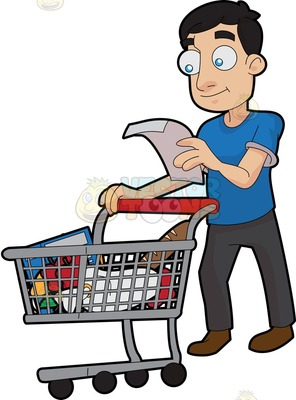 Man grocery shopping clipart.