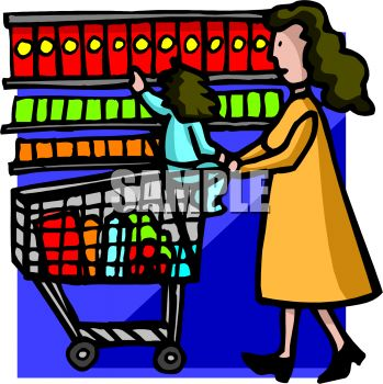 Grocery Shopping Clipart.
