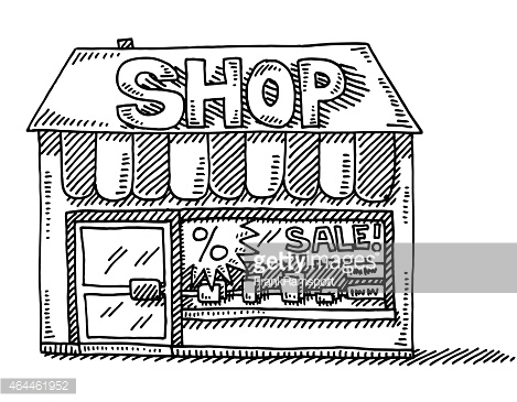 Grocery Store Building Clipart Black And White.