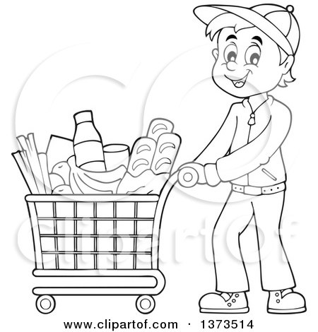 Clipart of a Cartoon Black and White Happy Woman Pushing a.