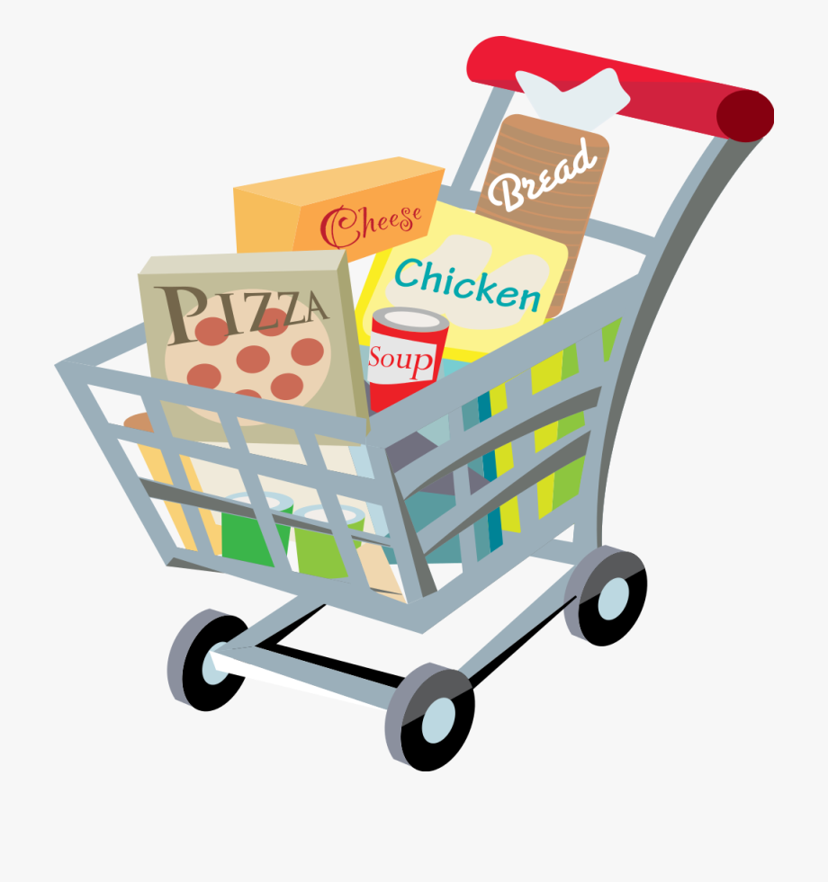 Shopping Cart With Food Clip Art.
