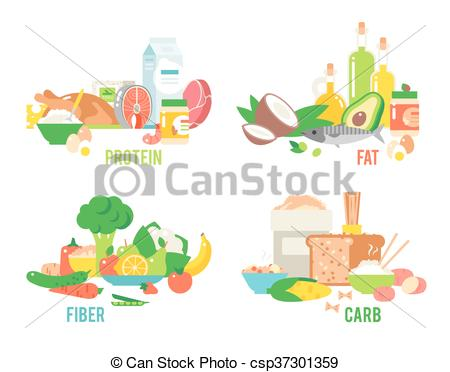 Clipart Vector of Food sources vector set..