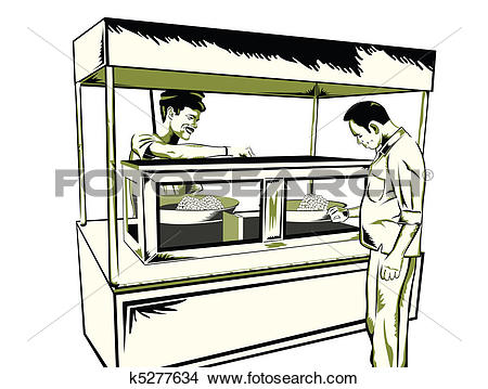 Drawings of indian fast food stall k5277634.