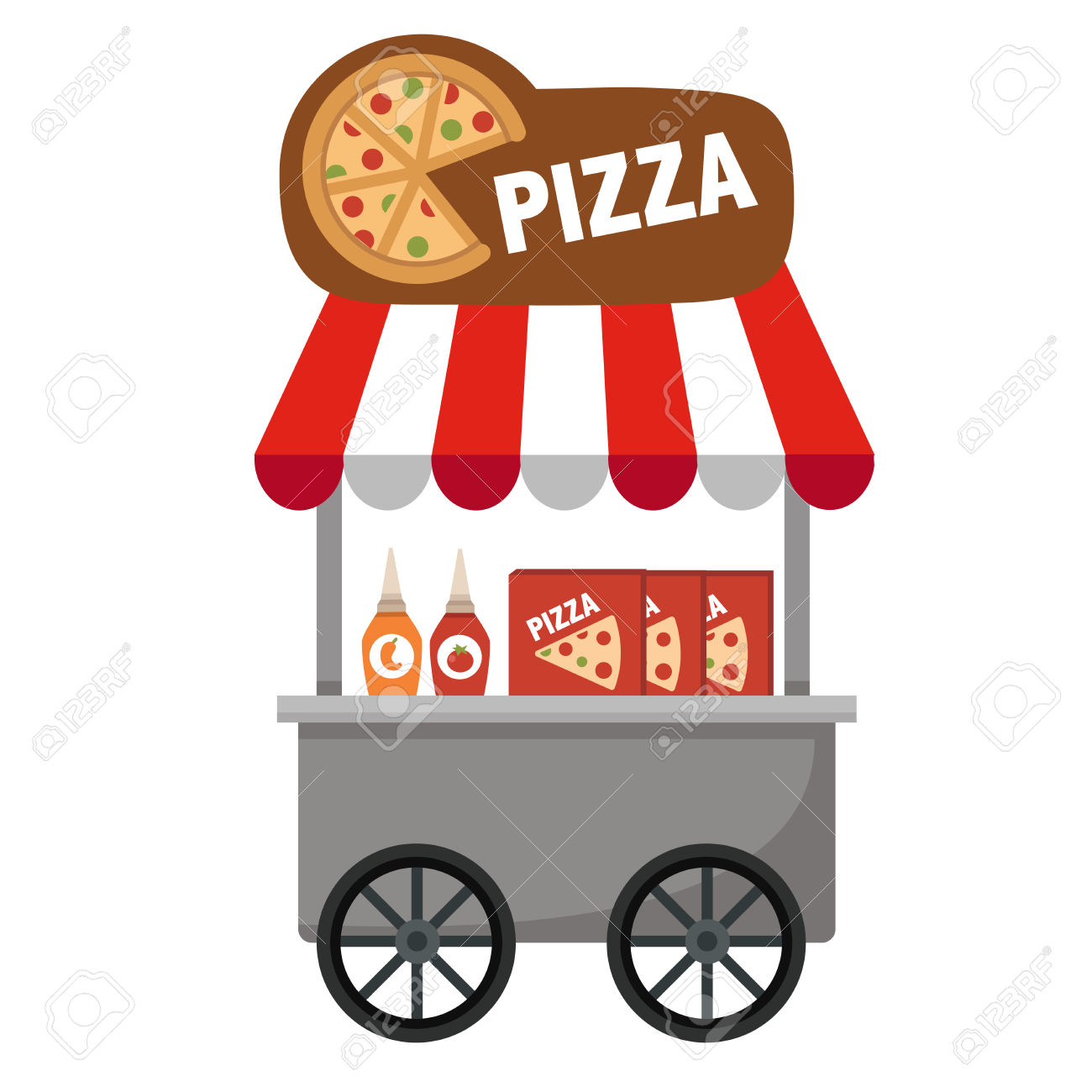 Cart Stall And Pizza Vector Illustration On White Background.