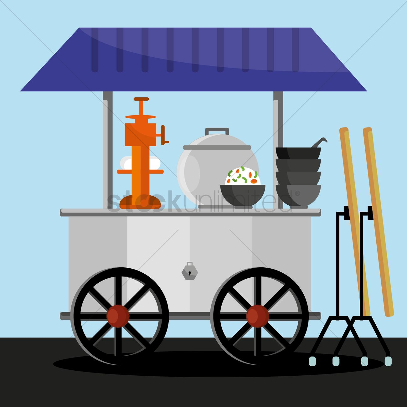 Food stall cart Vector Image.