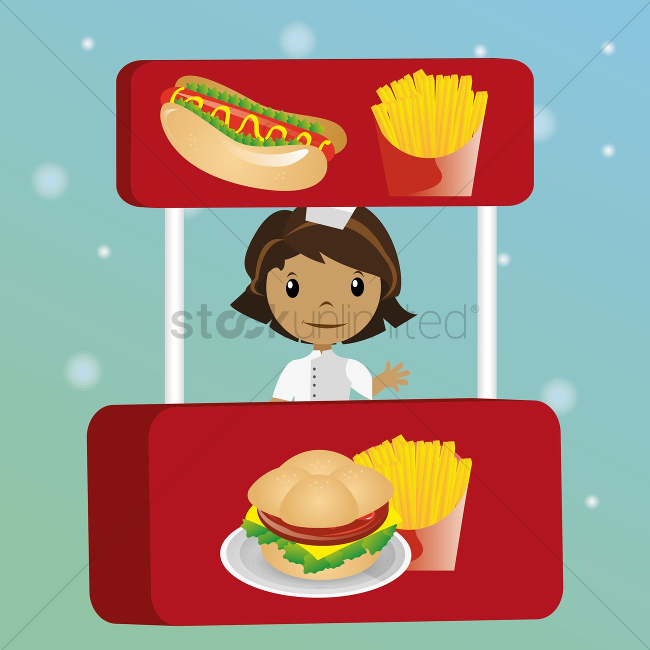 Fast food stall Vector Image.