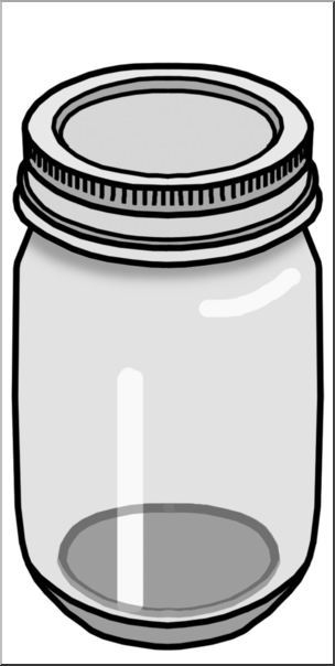 Clip Art: Food Containers: Jar Grayscale I abcteach.com.