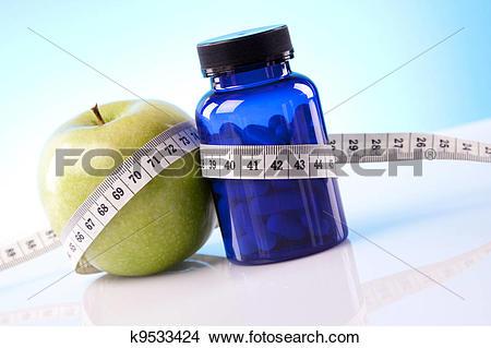 Stock Photo of Food supplements, healthy diet k9533424.