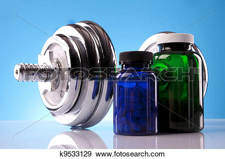 Stock Photograph of Food supplements, healthy diet k9533129.