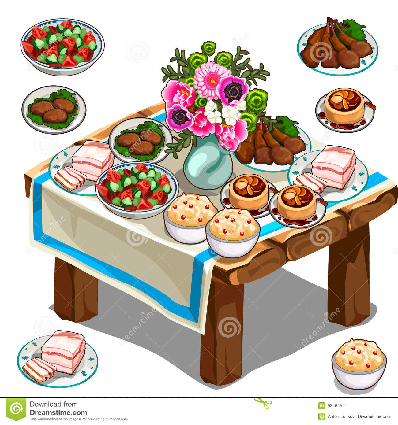 Festive Table With Delicious Food And Flowers Stock Vector.
