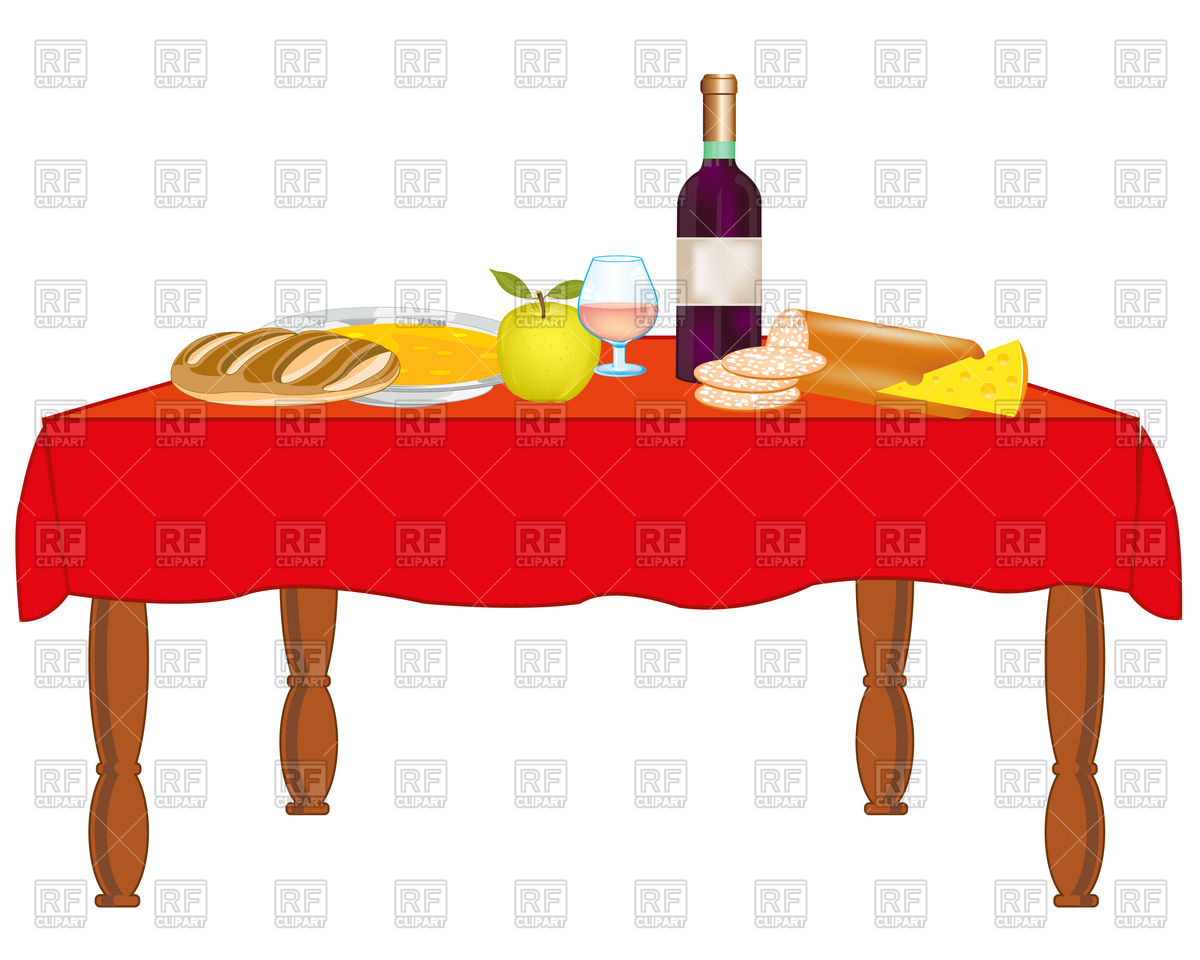 Covered table with meal and drink Stock Vector Image.
