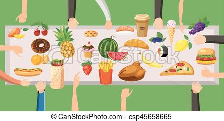 Food horizontal banner table, cartoon style.