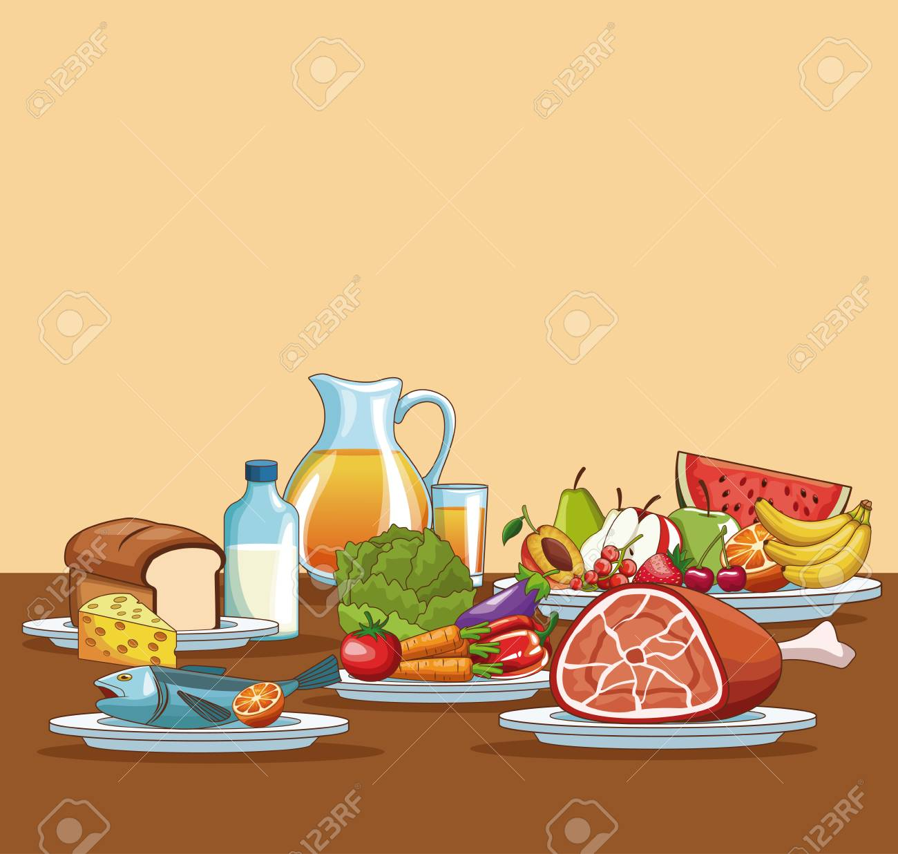 Healthy food on table cartoons vector illustration graphic design.