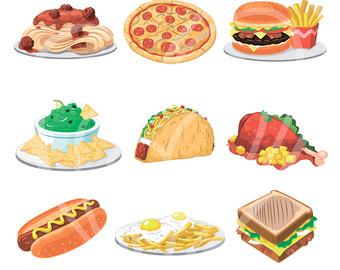 Lunch items clipart.