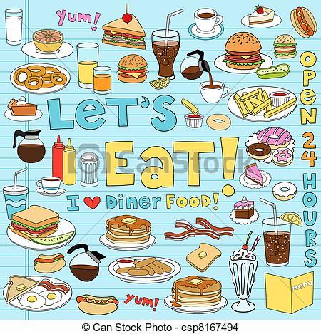 EPS Vector of Diner Food Notebook Doodles Set.