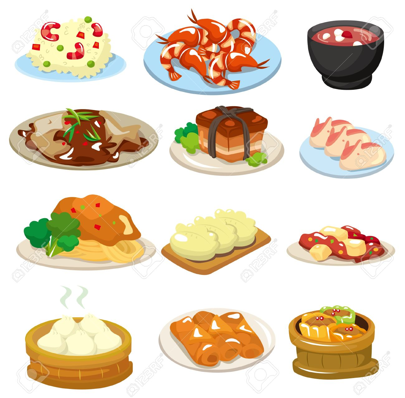 Cartoon Chinese Food Icon Royalty Free Cliparts, Vectors, And.