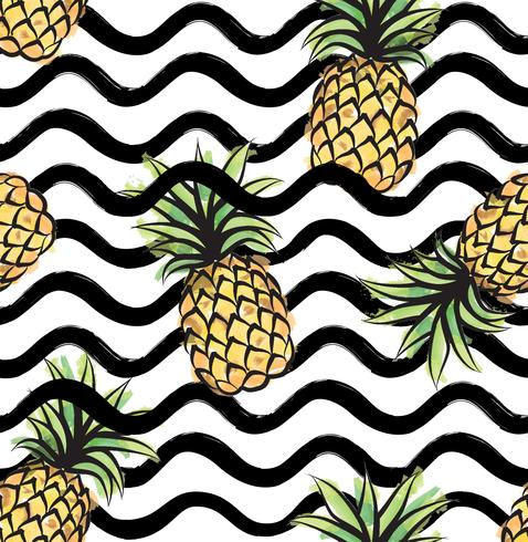 Abstract wave seamless pattern with pineapple. Tropical food.