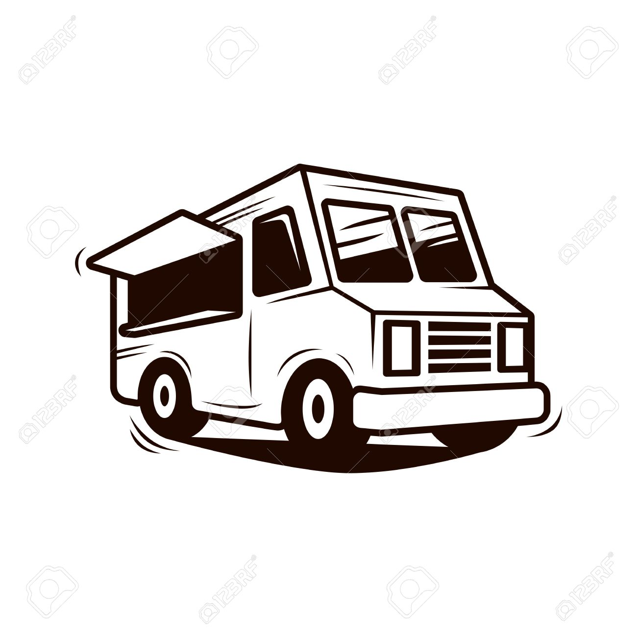 Food truck line art vector.