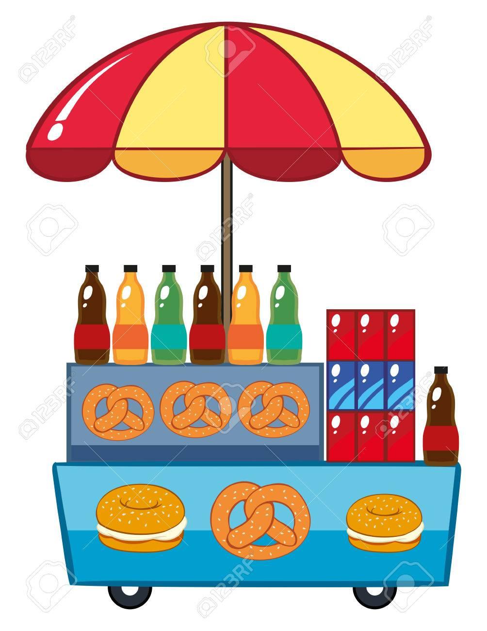 Food vendor with drinks and pretzle illustration.