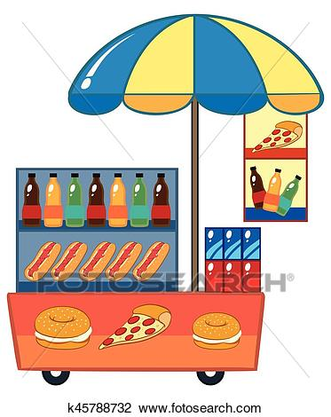 Food vendor with hotdog and drinks Clipart.