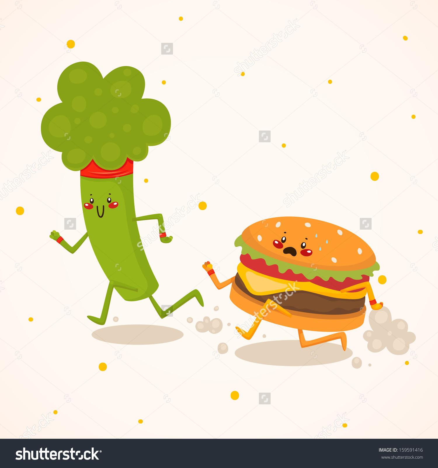 Broccoli Vs Burger Healthy Food Vs Stock Vector 159591416.