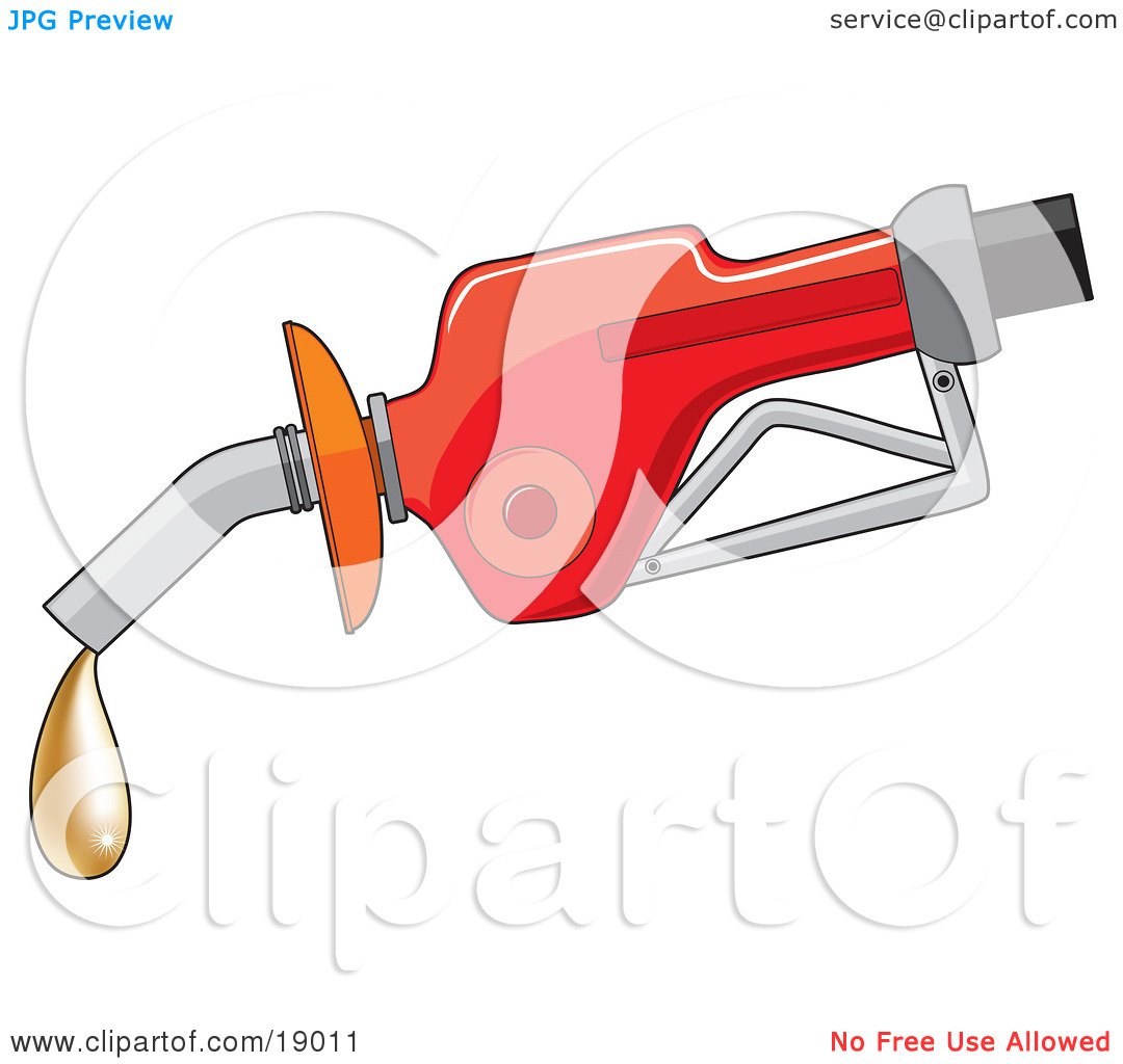Clipart Illustration of a Red Gas Pump Dispenser Oozing A Drop Of.